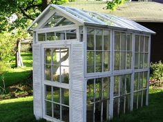 Shutters and old windows to make a green house!