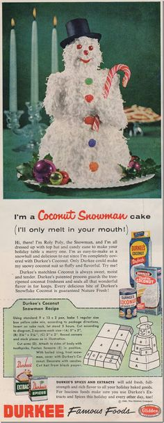 Vintage 1950s Christmas Snowman Coconut Cake recipe ad, Chronically Vintage blog