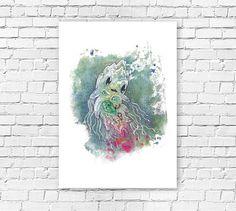50% OFF  //SALE  squid  water color  print  by idanlightman