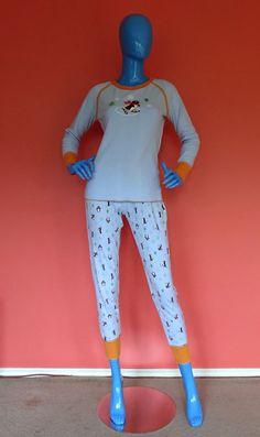 Penguins On Skis Thermal Pajamas Set PJs Juniors 7/9 M S Long Johns 2 pc Sleep  #Mudd #PajamaSets #Lounging