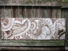 Henna, Canvas Panoramic, Boho, Gypsy ,Bollywood India, Painting,  Gallery Style. $254.00, via Etsy.