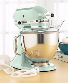 Pistachio KitchenAid mixer...makes me want to break the one I have so I can get this color!! ahh!