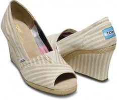 TOMS Canvas Wedge Linen Pinstripe Women 10 - Polyvore