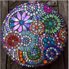 Mosaic stepping stone by Laura Sinkins - Glass Needle Works