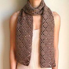 crochet scarf shell pattern for free | ... Crochet Pattern: Diamond Eyelet Scarf - Crochet Patterns, Tutorials