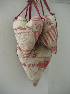 52 FLEA: Valentine/Blogversary Lunch! ~ Evi's hearts from old textiles.  Love it!