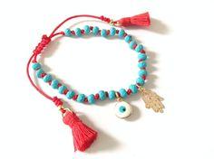Gold Hamsa Evil eye Bracelet Lucky charm friendship bead bracelet hamsa red Kabbalah bracelet Blue evil eye Bracelet Jewish Gift mal de ojo