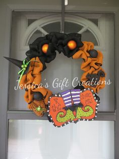 If The Shoe Fits Burlap Wreath/Halloween Decoration/Door Decor/Wall Decor/Home Decor/Witch Hat/Perfect Anytime Gift/Ready to Ship by JessicasGCreations on Etsy