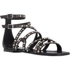 "Saint Laurent Studded ""Nu Pieds"" Sandals ($1,095) ❤ liked on Polyvore featuring shoes, sandals, flat sandals, roman sandals, flat shoes, flat gladiator sandals and flat pumps"