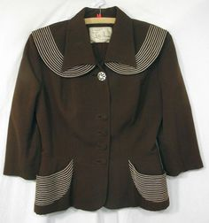 1940's Vintage jacket Lilli Ann - Cute piping details and button spacing