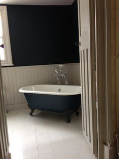 Bathroom: F&B Hague Blue on the walls, Cornforth White on the woodwork - lovely combination from Alison Dodds Laundry Room Bathroom, Upstairs Bathrooms, Chic Bathrooms, Bathroom Colors, Bathroom Ideas, Family Bathroom, Downstairs Bathroom, Hague Blue Bathroom, Hague Blue Kitchen