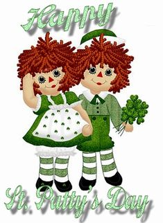 Raggedy Ann and Andy Fan Art: Happy St. Patrick's Day Raggedy Ann and Andy St Patricks Day Cards, Happy St Patricks Day, Saint Patricks, Happy St Patty's Day, Wood Block Crafts, Erin Go Bragh, Raggedy Ann And Andy, St Paddys Day, Holly Hobbie