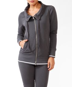 Funnel Neck Fleece Athletic Jacket