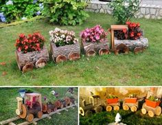 Log Planter Train Tutorial Outdoor Flower Planters, Flower Pots, Wooden Garden Planters, Diy Planters, Diy Flower, Planter Garden, Planter Ideas, Log Planter, Vertical Planter