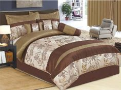 """7 Pcs Luxury Floral Satin/Jacquard Comforter Set Bed In A Bag Queen Beige/Brown by Jaba USA. $74.99. 1 Pc Square Cushion, 1 Pc Breakfast Pillow. 1 Pc Queen Size Comforter (86"""" x 86""""). 1 Pc Neckroll. 2 Pcs Standard Pillow Shams (20"""" x 28""""). 1 Pc Bedskirt (60"""" x 80"""" + 14"""" Drop). 7 Pcs Luxury Comforter Set  This is a very attractive comforter set.  This comforter set will give your room a new look!      Style#: 20560     Condition: Brand New     Size: Queen     Design: Flor..."""