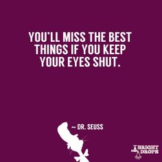 """You'll miss the best things if you keep your eyes shut."" ~ Dr. Seuss"