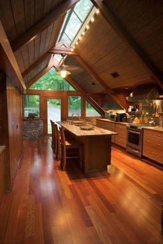 Skylight Ideas that'll Brighten Your Heart (Best 10 Designs) is part of Log home kitchens - Skylight ideas can be a powerful means to create a more open space By installing a skylight, you let the area to have extra natural light Tiny House Cabin, Cabin Homes, Log Homes, A Frame Cabin, A Frame House, Vaulted Ceiling Kitchen, Vaulted Ceilings, Rustic Kitchen Design, Wooden Kitchen