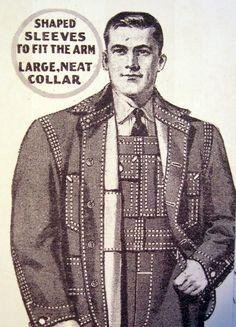 Vintage workwear ad, 1930s, denim with top stitching