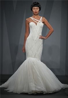 One-Shoulder beaded mermaid wedding gown with tulle skirt // 88 from Mark Zunino for Kleinfeld