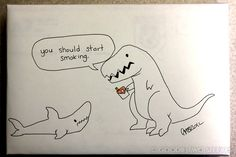 "This Guy Is Known For Taking Crazy Drawing Requests. He Delivers In The Most Amazing Ways Possible ""can you draw a dinosaur trying to kill a shark?"""