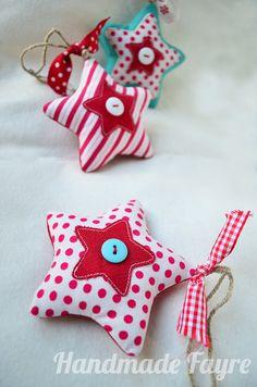 x 3 Mix of Christmas Stars  SPOT & STRIPE by handmadefayre on Etsy, £13.95