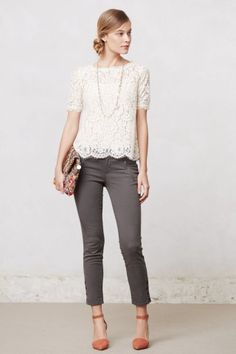 Spring / summer - street & chic style - lace top + gray skinnies + broght heels