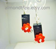 Sale Black n Red lego  earrings https://www.etsy.com/sg-en/shop/AlmondTree, #etsy #jewelry #handmade #wirewrapped #schmuck   #boucles d'oreilles