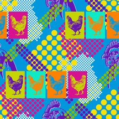 Chicken Pop fabric by siya, available from Spoonflower
