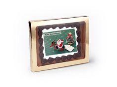 Chocolade Wenskaart Kerst. Stuur uw persoonlijke kerst boodschap in chocolade. Gemaakt met top-kwaliteit Belgische chocolade van Callebaut. #chocolade #belgischechocolade #kerstman #kerstmis #kerst #kerstboom