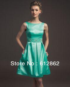 New Arrival Sleeveless Beaded Waistline Short Satin Party Dress Green Cocktail Dress