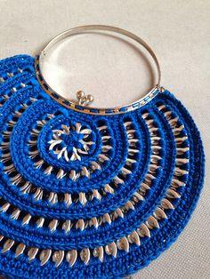Blue half moon purse made from soda tabs