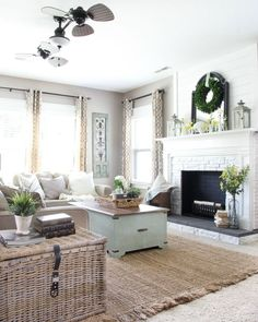 This neutral living room is beautiful, and the woven wood shades really make the windows pop! My Living Room, Home And Living, Living Room Decor, Living Spaces, Cozy Living, Modern Living, Woven Wood Shades, Country Living Magazine, Family Room Design