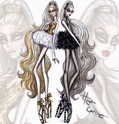 #Hayden Williams Fashion Illustrations: #Couture Ballet by Hayden Williams: 'Dual Danseuse'