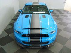 Ford Mustang Shelby GT500 Super Snake. Grabber blue with black matte stripes.