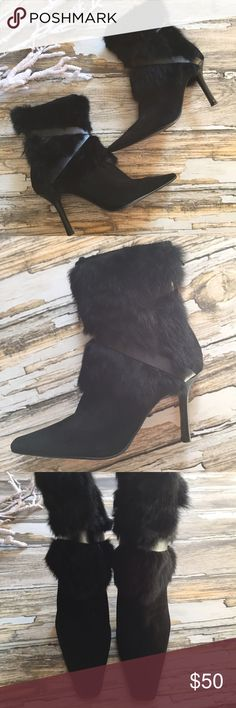 """Nine West Fur Suede Boots.  6M.  Black Nine West Fur Ankle Heeled Boots.  6M.  Black.  Suede, Fur, & Leather Criss Cross Strap.  Zipper Back.  Heel Height 4 1/4"""".  Very Good to Excellent Condition.  Light Signs of Use. Nine West Shoes Ankle Boots & Booties"""
