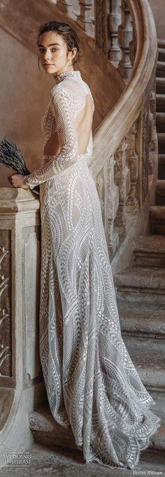 divine atelier 2020 bridal long sleeves high neckline fully embellished lace soft modified a line wedding dress slit skirt keyhole back sweep train zbv -- Divine Atelier 2020 Wedding Dresses Bridal Lace, Bridal Style, Bridal Gowns, Wedding Gowns, Divine Atelier, Boho Chic Wedding Dress, Iconic Dresses, Sophisticated Bride, Gowns Of Elegance