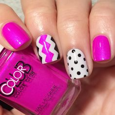"""""""My favorite Color Club polish never disappoints!! Right On is the most delicious neon pinky orchid shade evaaa! Added my other 3  roll dogs, Essie…"""""""