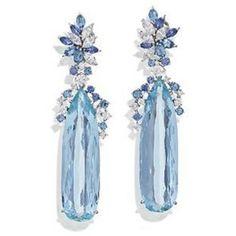 A pair of aquamarine and diamond ear pendants
