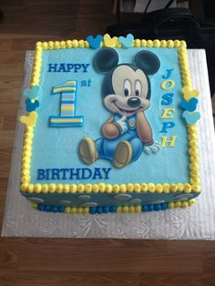 blue mickey mouse first birthday cake - Google Search