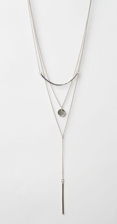 Silver Layered Necklace with Crescent, Sand Dollar and Bar Pendant