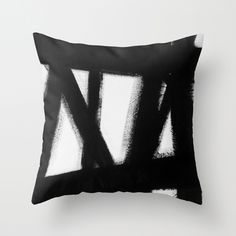 No. 63 Throw Pillow - Black and white modern painting pillow by Adriane Duckworth for Society6