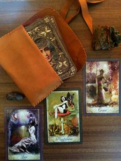 Brown Handmade Leather Tarot Pouch with Vintage Wisdom Oracle Cards  http://drdruzy.com/collections/tarot/products/vintage-wisdom-oracle-cards