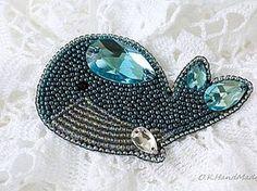 Мастерим брошь «Синий кит» в технике «вышивка бисером» | Ярмарка Мастеров - ручная работа, handmade