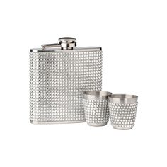 Hip Flask Set, Stainless Steel/Clear Diamante Design, 6oz Flask/2 Cups