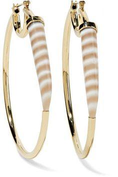 Kimberly McDonald - 18-karat Gold Chalcedony Hoop Earrings - one size