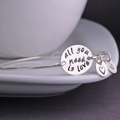 All You Need Is Love Bangle Bracelet, Inspirational Jewelry with words by John Lennon, Jewelry Gift by georgiedesigns on Etsy