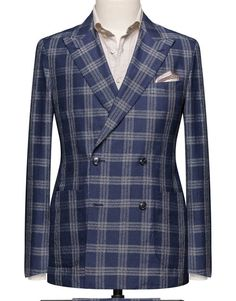 89f4004982def8 Navy With An Off White Check. Cloth Weight  200 gram Composition  Wool,  Linen and Silk