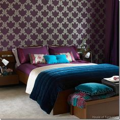 House of Turquoise: Aubergine and Teal Bedroom . I love the color contrasts. Dark Purple Bedrooms, Purple Master Bedroom, Purple Bedroom Design, Bedroom Turquoise, Purple Rooms, Purple Teal, Peacock Bedroom, Master Bedrooms, Bedroom Colors
