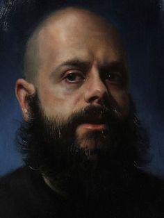 """Extra Territorium"" - Rachel Moseley, oil on wood, 2015 {figurative realism art male bearded man cropped painting #loveart} rachelmoseleyart.com"