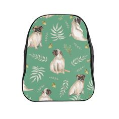 Our leafy pug design is a unique watercolor pattern featuring an adorable pug, butterflies and tropical leafs. Our stylish backpack features our unique design a